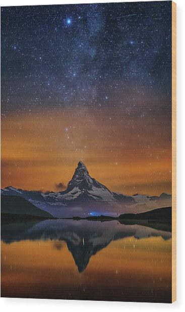 Volcano Fountain Wood Print