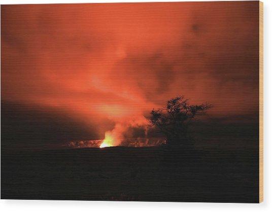 Volcano Under The Mist Wood Print