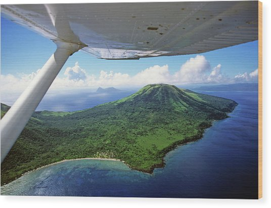 Volcanoes Seen From A Plane On The Island Of Efate Wood Print by Sami Sarkis