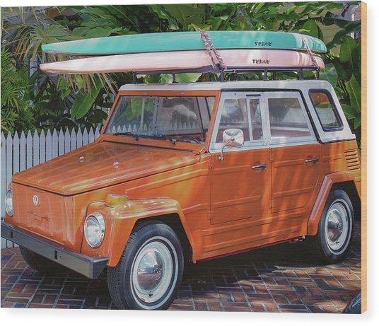 Volkswagen And Surfboards Wood Print