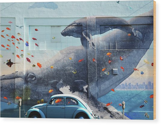 Volkswagen Beetle And Humpback Whale Wood Print by Larry Butterworth