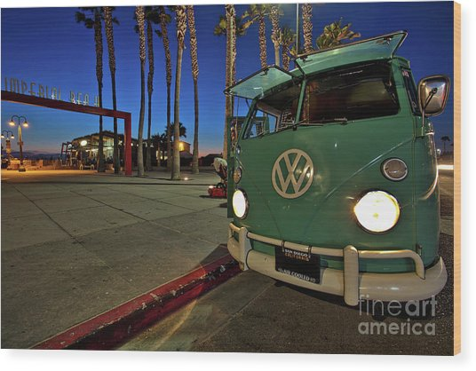 Volkswagen Bus At The Imperial Beach Pier Wood Print