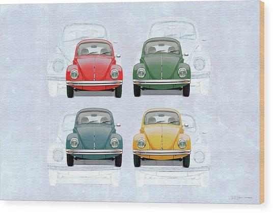 Volkswagen Type 1 - Variety Of Volkswagen Beetle On Vintage Background Wood Print