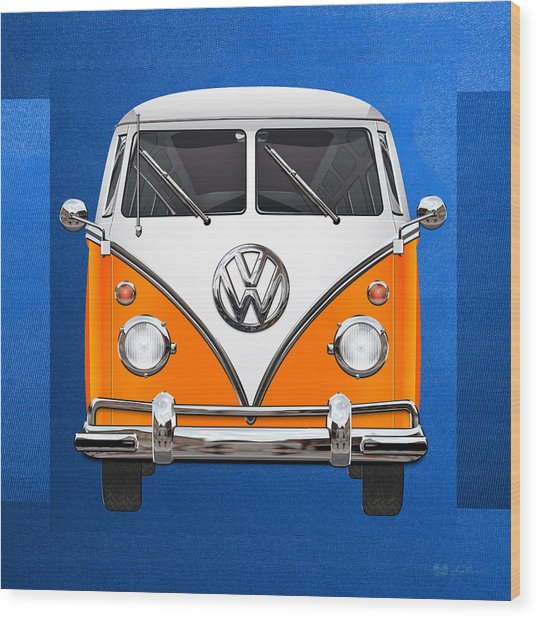 Volkswagen Type - Orange And White Volkswagen T 1 Samba Bus Over Blue Canvas Wood Print