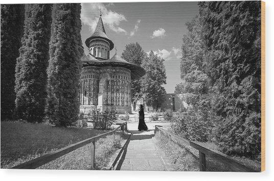 Voronet Monastery - Romania - Black And White Photography Wood Print by Giuseppe Milo
