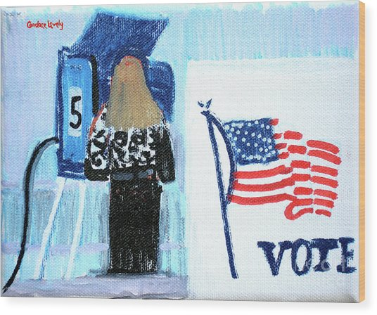 Voting Booth 2008 Wood Print