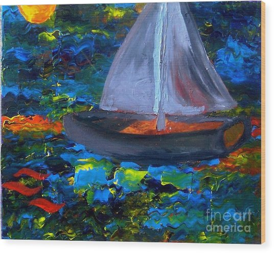 Voyage With A Sea Serpent Wood Print by Karen L Christophersen