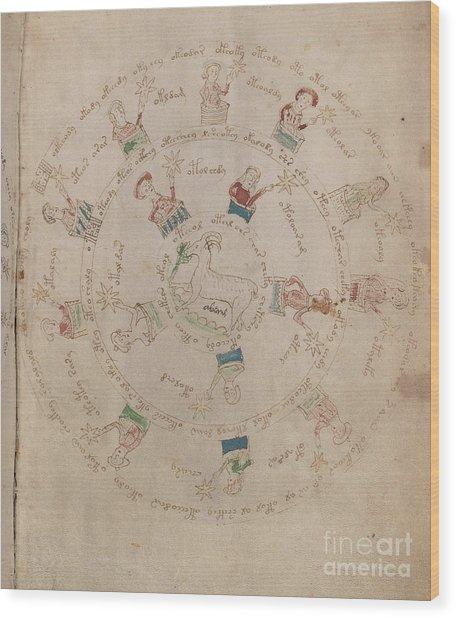 Voynich Manuscript Astro Aries Wood Print