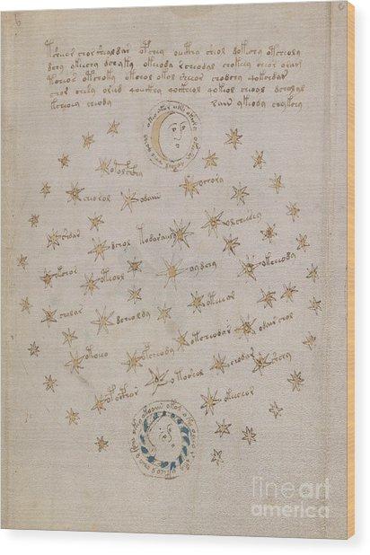 Voynich Manuscript Astro Sun And Moon 1 Wood Print