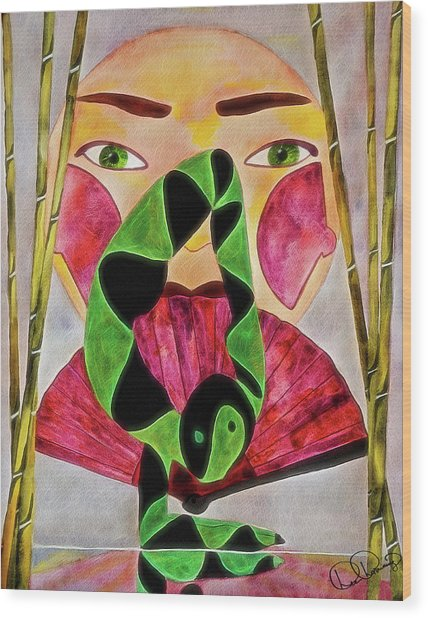 Wood Print featuring the painting Vrschikasana by Dee Browning