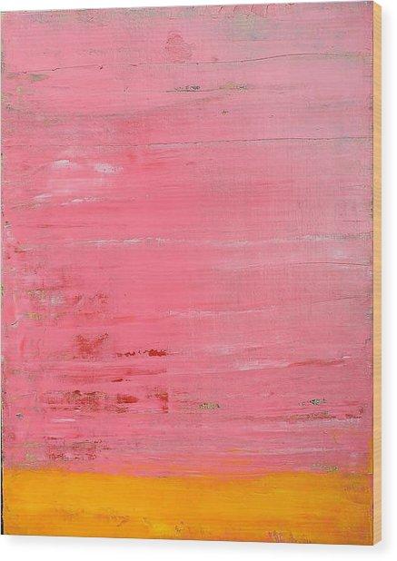 Pink Oil On Board 16 X 20 Wood Print