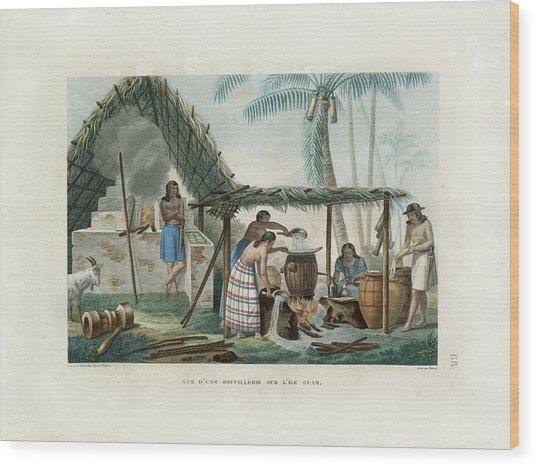 Vue Dune Distillerie Sur L Ile Guam Distillery Scene On Guam Wood Print