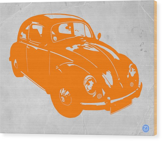 Vw Beetle Orange Wood Print