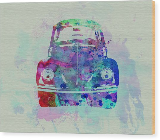 Vw Beetle Watercolor 2 Wood Print