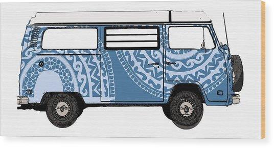 Vw Blue Van Wood Print