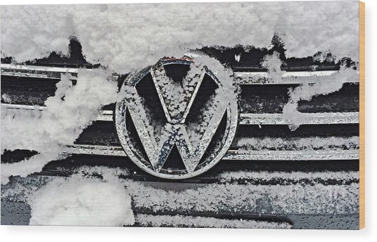 Vw Snow Day Wood Print
