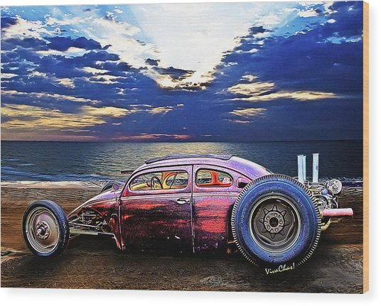 Rat Rod Surf Monster At The Shore Wood Print