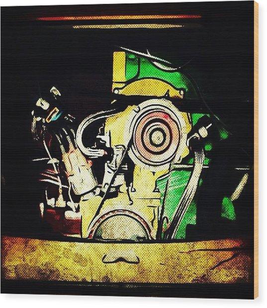 #vw #volkswagen #multicolor #engine Wood Print