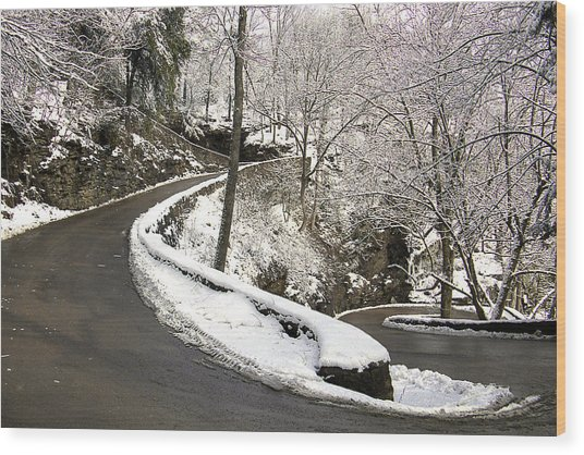W Road In Winter Wood Print