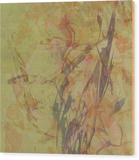 Wabi Sabi Ikebana Rose On Yellow Green Wood Print