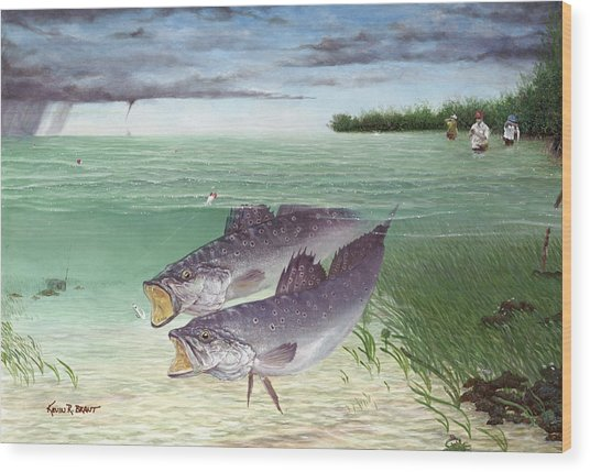 Wade Fishing For Speckled Trout Wood Print