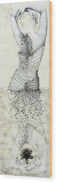 Wader With Lotus Flower Wood Print