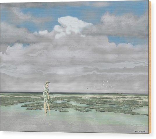 Wading The Salt Flats Wood Print