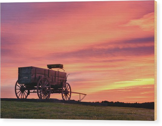 Wagon Afire Wood Print