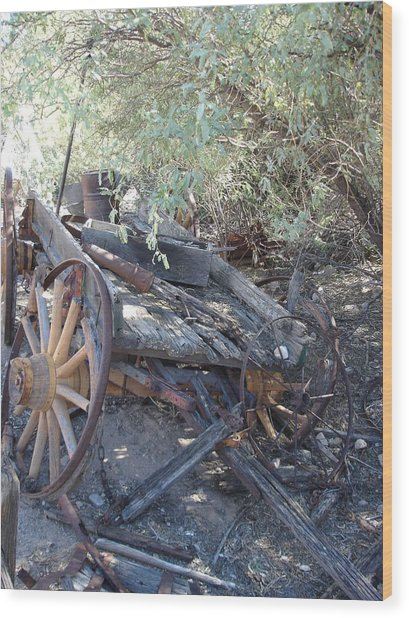 Wagon At The Ghost Town Wood Print