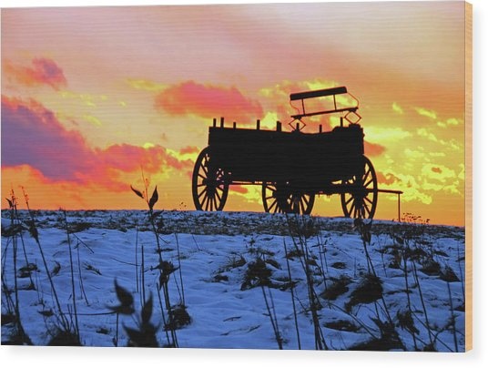 Wagon Hill At Sunset Wood Print