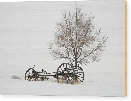 Wagon In The Snow Wood Print