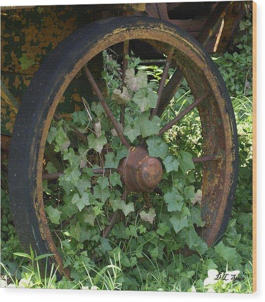 Wagon Wheel Wood Print by Dennis Stein