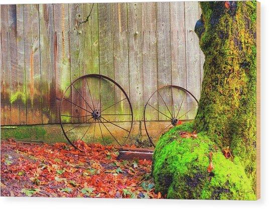 Wagon Wheels And Autumn Leaves Wood Print