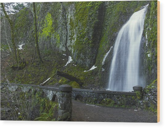 Wahkeena Falls Bridge Wood Print