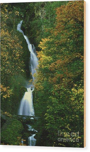Wahkeena Falls Waterfall Wood Print