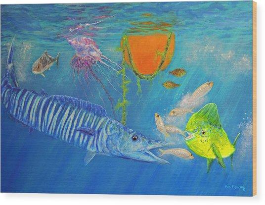 Wahoo Dolphin Painting Wood Print