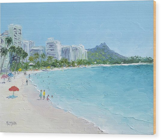 Waikiki Beach Honolulu Hawaii Wood Print