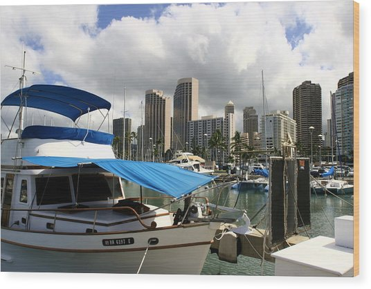 Waikiki Port Wood Print by Andrei Fried