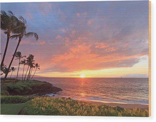 Wailea Sunset Wood Print