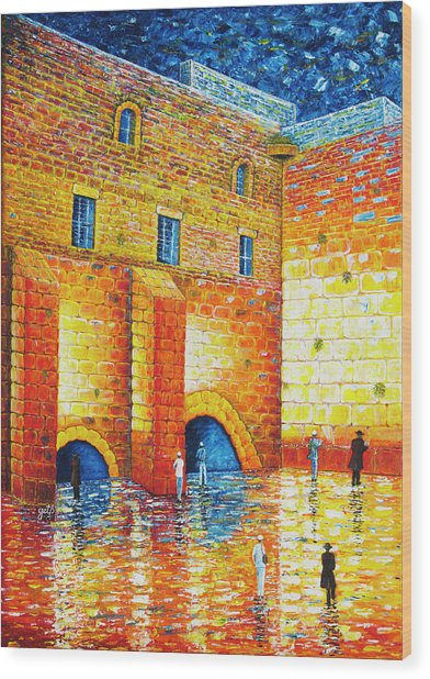 Wood Print featuring the painting Wailing Wall Original Palette Knife Painting by Georgeta Blanaru