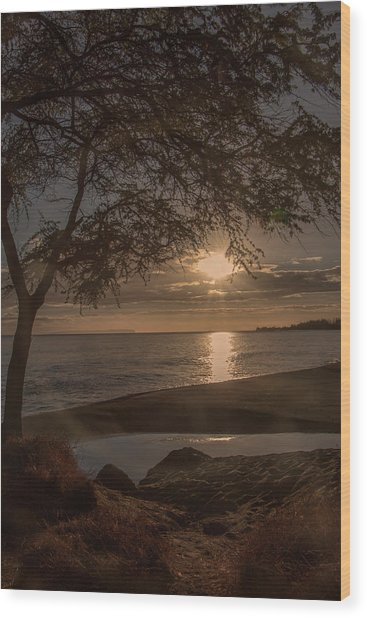 Waimea Bay Sunset 4 Wood Print