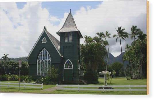Wai'oli Hui'ia Church Wood Print by Annie Babineau