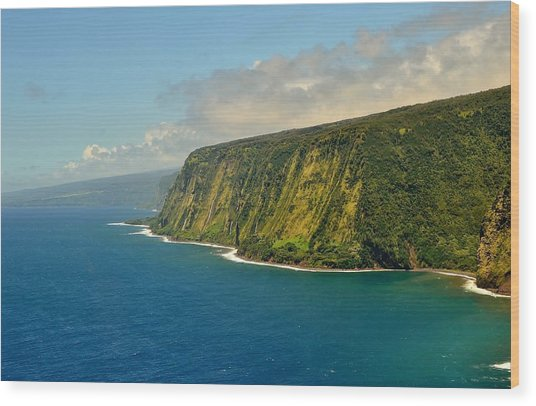 Waipio Waterfall Coastline Wood Print