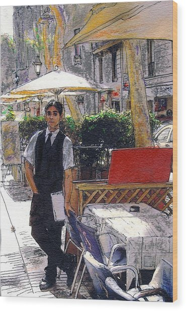 Waiter On La Rambla Wood Print