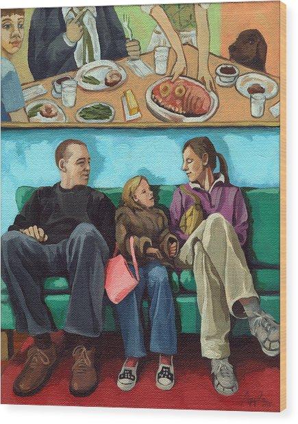 Waiting At The Diner Wood Print by Linda Apple