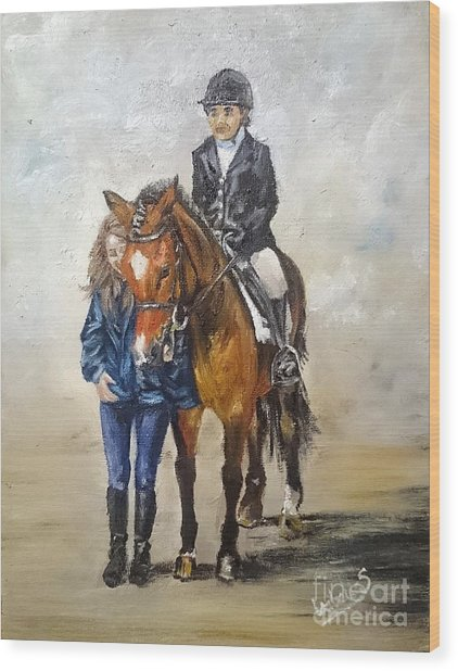 Waiting For Dressage Wood Print