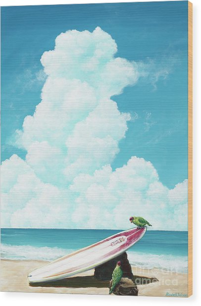 Waiting For Surf Wood Print