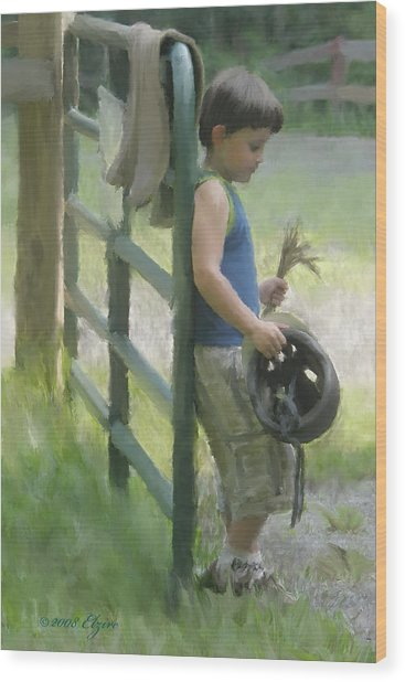 Waiting For The Pony Wood Print by Elzire S