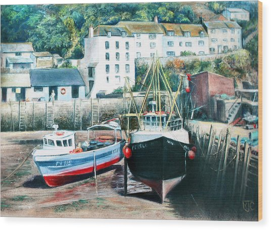 Waiting For The Tide Wood Print