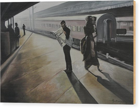 Waiting For The Train Wood Print